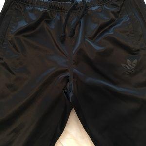Adidas Satin Black Unisex Snap Track Pants